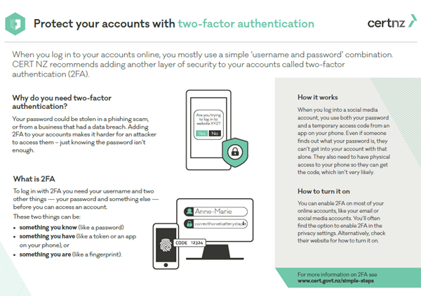 Protect your accounts with two factor authentication